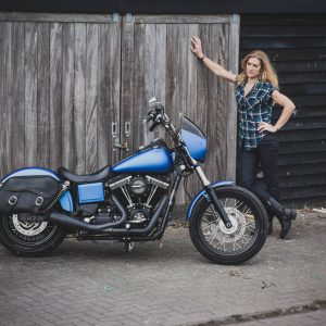 The Girl On a Bike with Harley Davidson DYNA StreetBob 2015