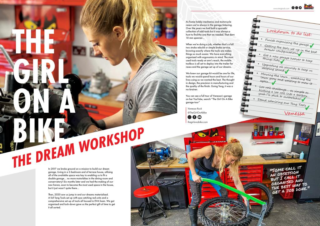 the girl on a bike Teng tools Michelin rabaconda dream garage