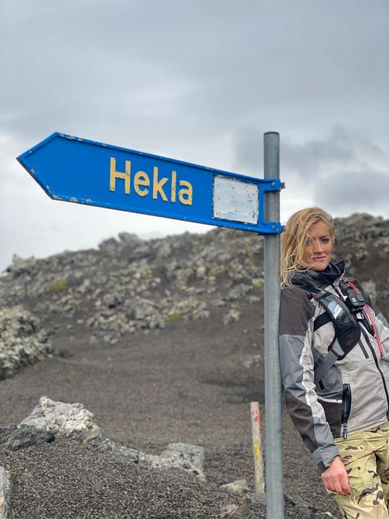 Riding close with Hekla volcano