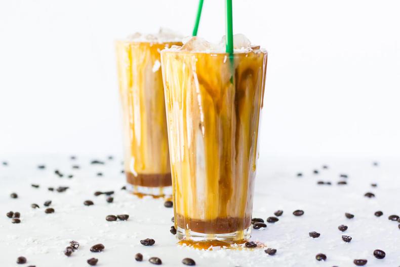 Salted Iced Coconut Milk Caramel Macchiatos