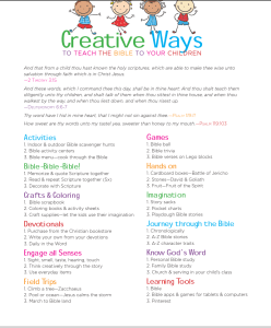 Here is the ultimate list of creative ways to teach children the Bible!