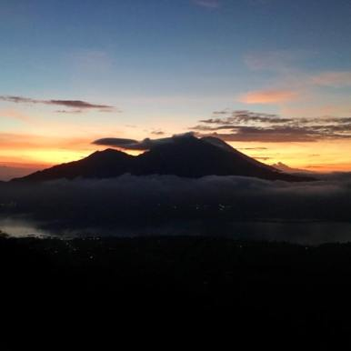 The sunrise on our hike up Mount Batur