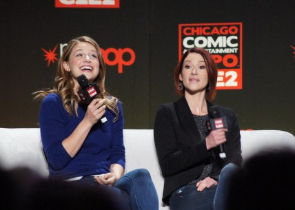 Melissa Benoist and Chyler Leigh at the Supergirl Panel