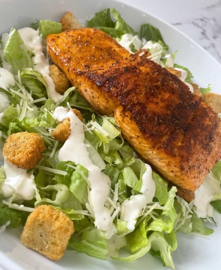 Perfect Salmon Caeser Salad