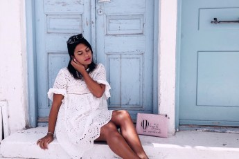 mykonos chora bag pink light blue door