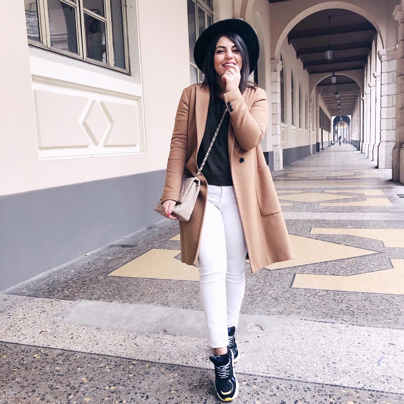 camel coat outfit sneakers