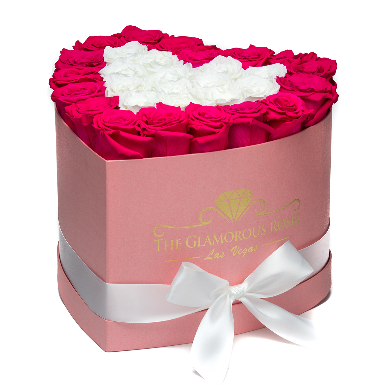 Large Pink Heart Shaped Box - White & Pink Roses Heart Shape - The ...