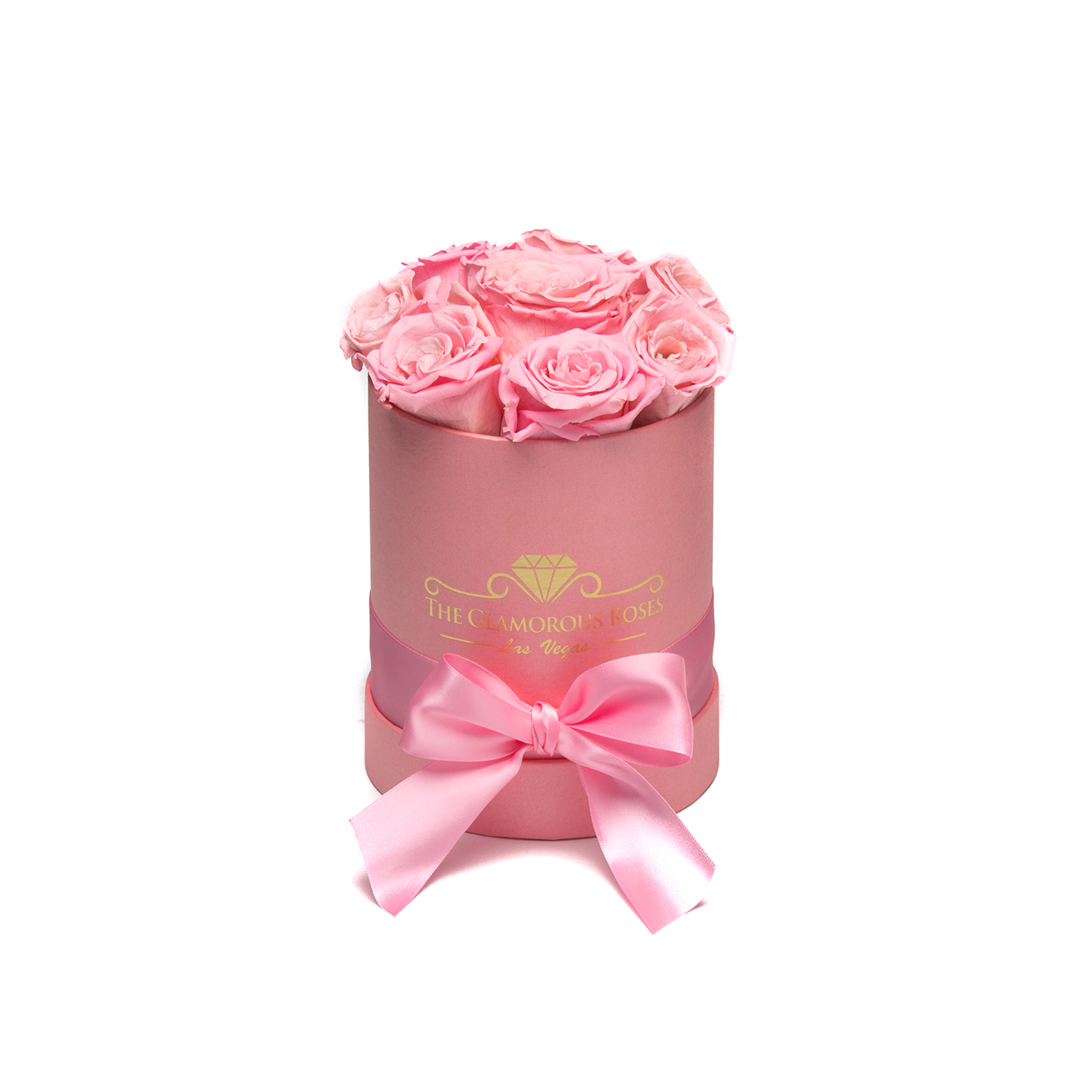 Small Pink Round Box - Light Pink Roses - The Glamorous Roses