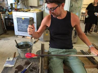 Shaping molten glass on the bench