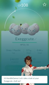 Valor (Red) Team Leader Candela Appraising an Exeggcute