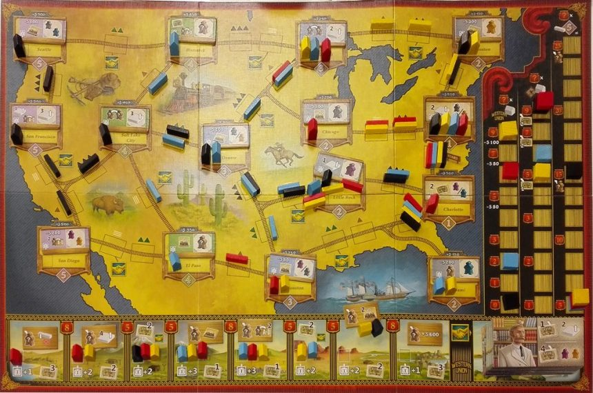 Railroad Revolution game board at end of a game