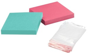 ziplock bags and Post It Notes