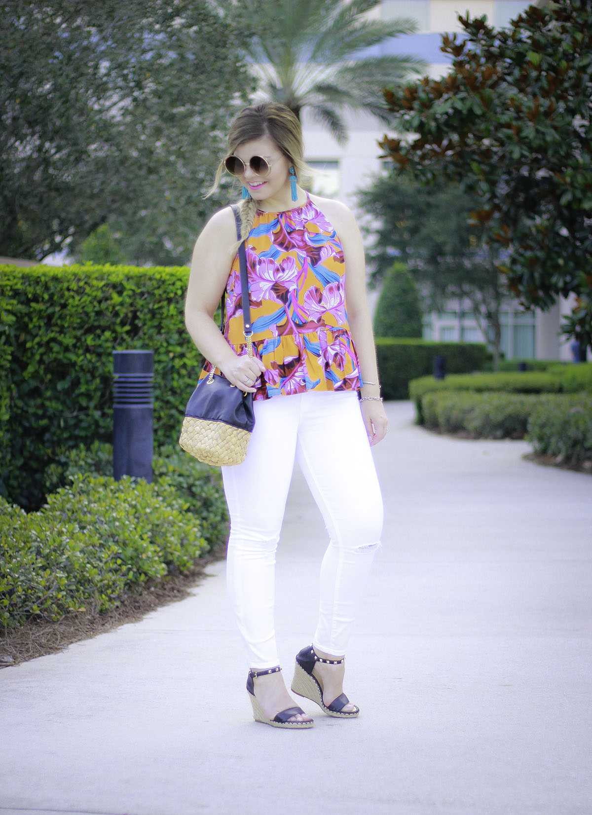 Blogher17 Recap, BlogHer Conference, Orlando FL, Florida Vacation, Hilton Bonnet Creek Florida, Disney, Asos Floral Pepllum top, J Crew White Jeans, Marc Fisher Espadrille Wedges, Turquoise Tassel Earrings, Zara Leather + Straw Bag