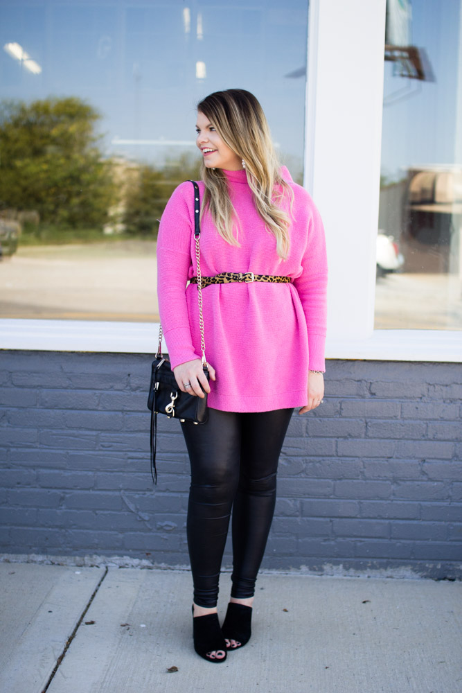 Free People pink tunic sweater for fall. Faux leather leggings, black heeled mules, leopard belt, rebecca minkoff mini mac, perfect fall outfit. - Pink Dreams are Made of These: Free People Pink Tunic by Tennessee fashion blogger The Glitter Gospel