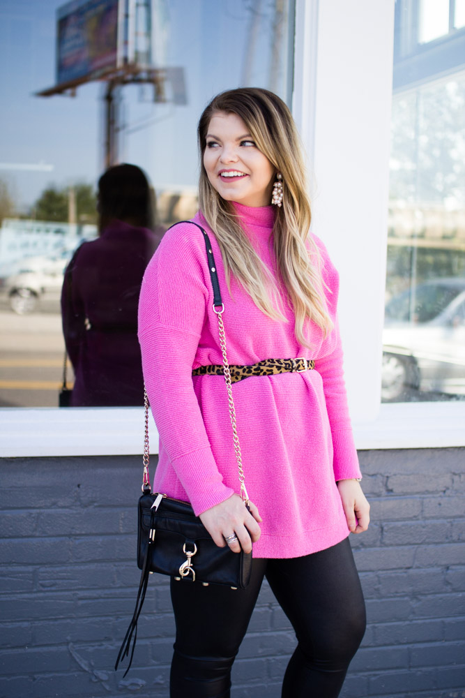 Free People pink tunic sweater for fall. Faux leather leggings, black heeled mules, leopard belt, rebecca minkoff mini mac, perfect fall outfit.