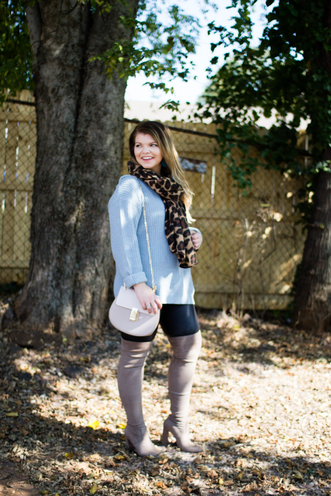 Blue off shoulder sweater, leopard scarf, Over the Knee Boots, Chloe Drew Dupe, Tennessee Blogger, The Glitter Gospel, Sugarfix by Baublebar