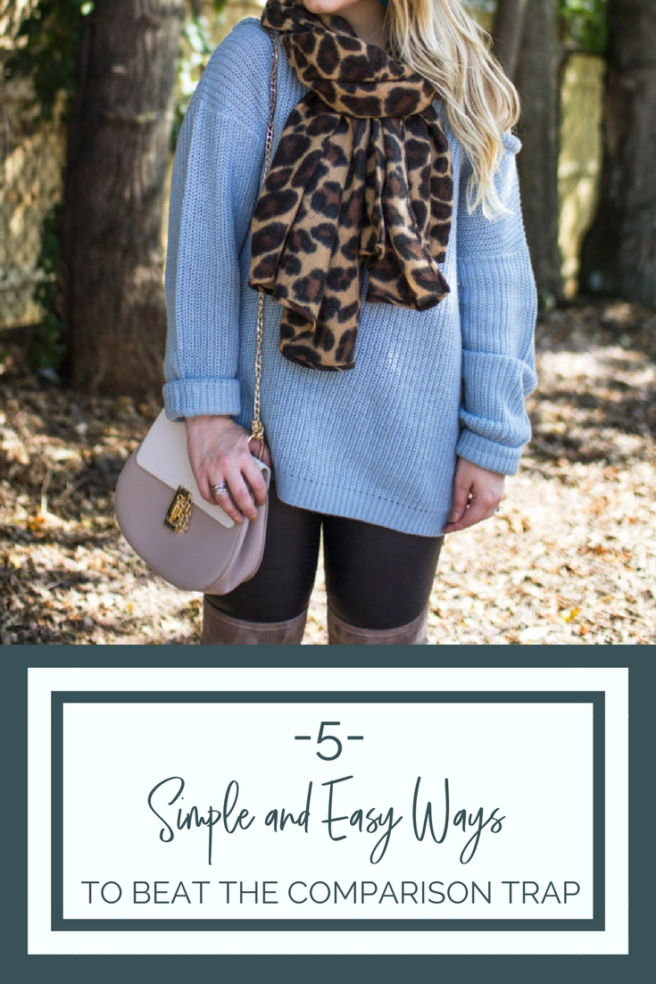 5 Simple and Easy ways to beat the comparison trap with Lacey Anne Douthat from The Glitter Gospel Blog. - Staying in Your Lane + The Best Blue Off Shoulder Sweater by Tennessee fashion blogger The Glitter Gospel