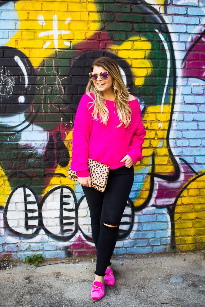 The Glitter Gospel Blog wearing pink for fall. Pink Sweater, Off Shoulder Sweater, Pink Faux Fur Mules, Black Distressed Denim, Diff Eyewear, Leopard Clutch. - Pink Off The Shoulder Sweater by Tennessee fashion blogger The Glitter Gospel