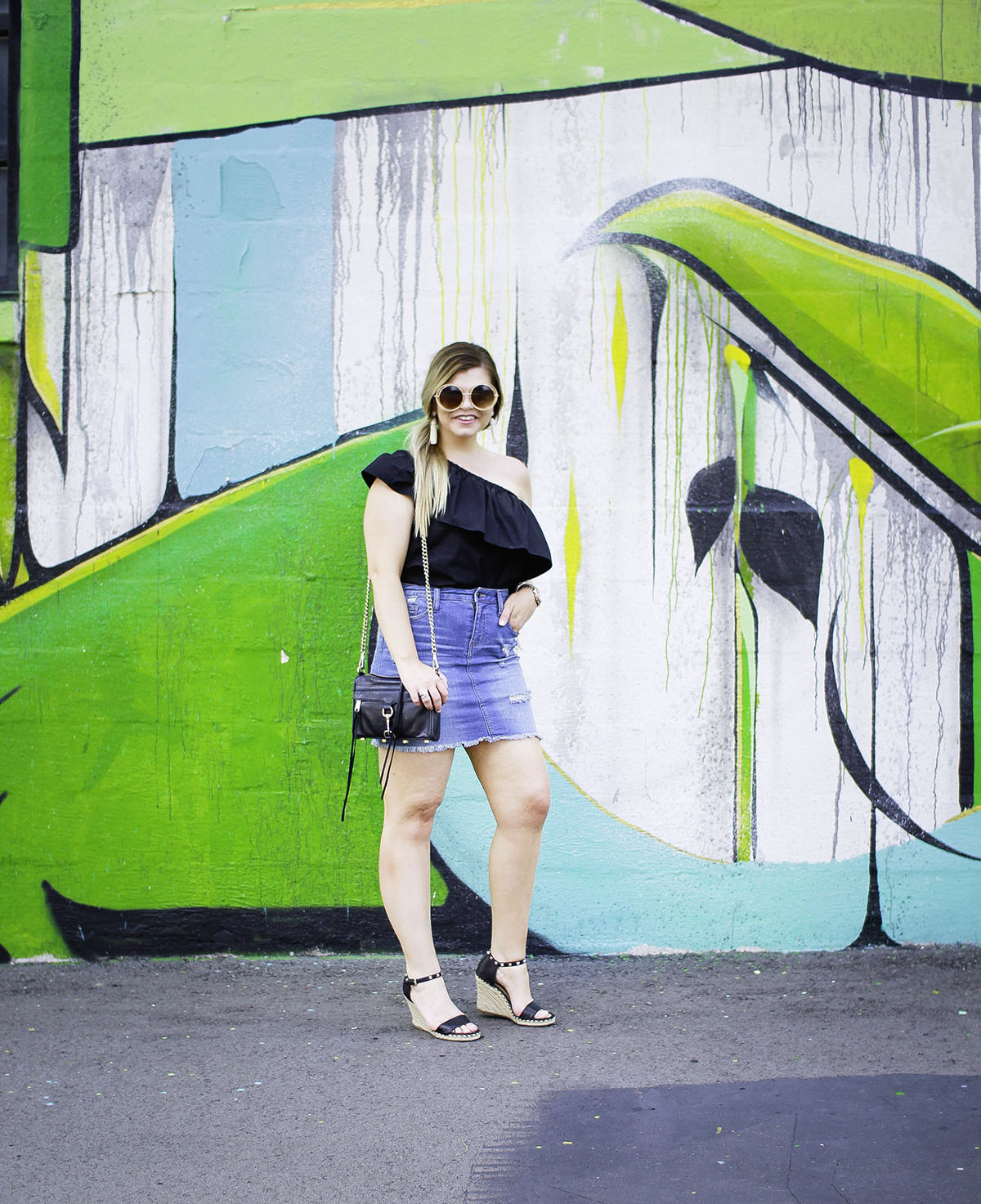 Lacey Anne Douthat from The Glitter Gospel Blog, Asos Black One Shoulder Top, One Shoulder Top, Denim Skirt, Rebecca Minkoff Mini Mac, Summer Outfits, Tassel Earrings, Round Sunglasses, Espadrille Wedges, Nashville, Murals, The Gulch