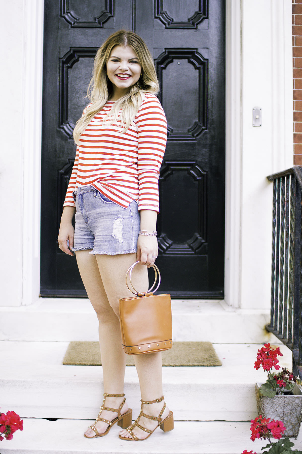 Fourth of July Outfit with Lacey Anne Douthat of The Glitter Gospel Blog, J Crew, Red Stripes, Denim Shorts, Studded Sandals, Cesca for Target Bag, Mac Ruby Woo Lipstick