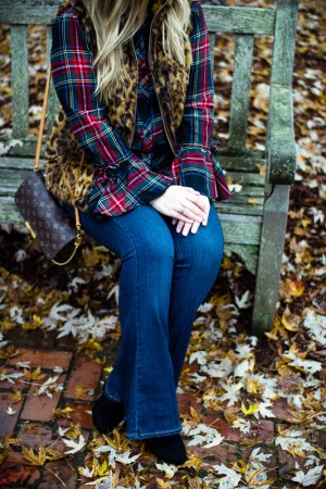 A Trip to Biltmore Village | The Glitter Gospel Blog. Fall outfit, red beret, tartan plaid, paige jeans, flare jeans, leopard vest, louis vuitton favorite MM, Casual Outfit, Stila Fiery