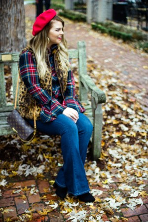 A Trip to Biltmore Village | The Glitter Gospel Blog. Fall outfit, red beret, tartan plaid, paige jeans, flare jeans, leopard vest, louis vuitton favorite MM, Casual Outfit, Stila Fiery