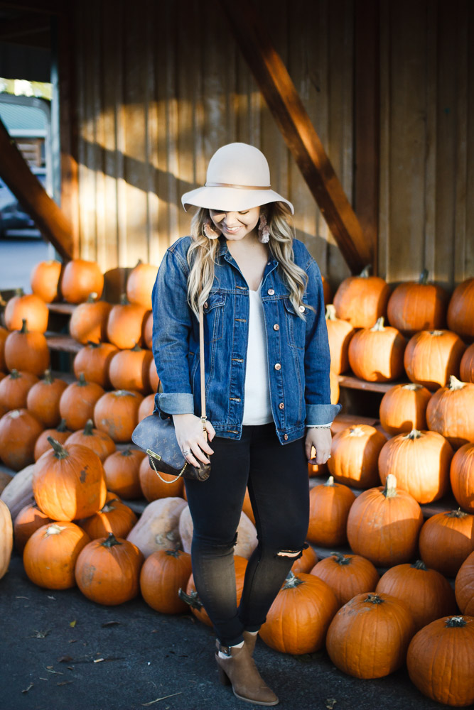 Carver's Apple Orchard |The Glitter Gospel Blog Fall Outfit For the Pumpkin Patch. Oversized Denim Jacket, Target Booties, Louis Vuitton Favorite MM, Wool Floppy Hat