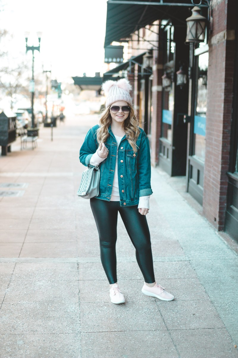 Easy athleisure outfit idea, koral leggings, pom pom beanie, knoxville, pink sneakers, rebecca minkoff jumbo love, casual outfit, style blogger, tennessee