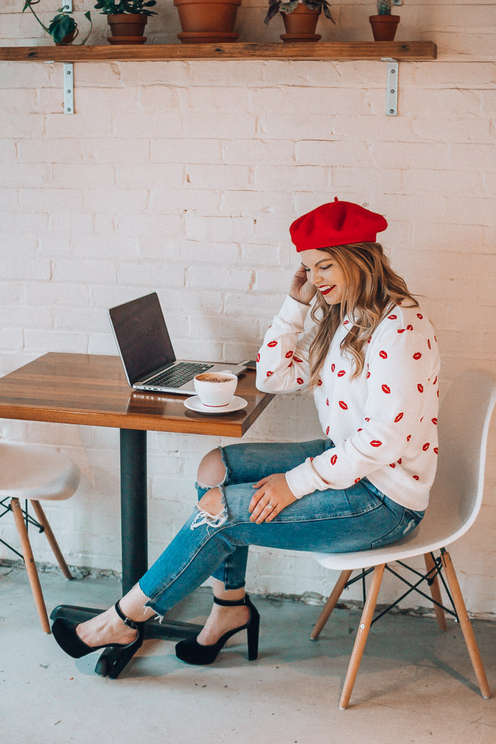 Parisian inspired Valentine's Day Outfit, The Glitter Gospel, Tennessee Blogger, Lip Print Sweatshirt, Red Beret, Mom Jeans, Platform Mary Janes, Remedy Coffee Knoxville.
