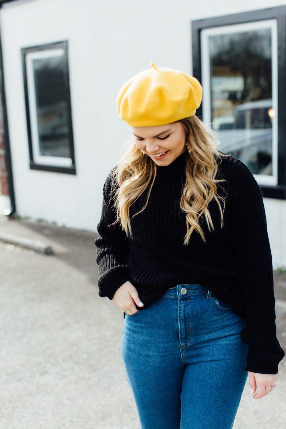 A parisian inspired outfit, yellow beret, tennessee blogger, mom jeans, asos, affordable fashion, black mary janes, OOTD, Casual Outfit