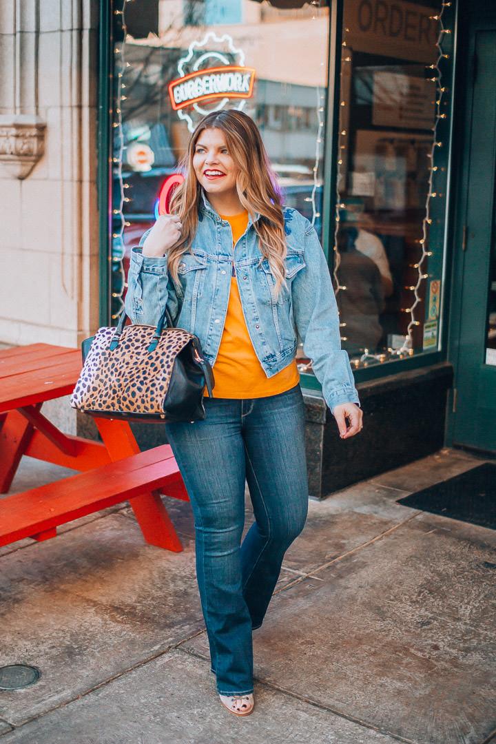 Free People denim jacket and flare jeans, The Glitter Gospel, Tennessee Blogger, Jeffrey Campbell Kors, Clare Vivier Leopard Sandrine