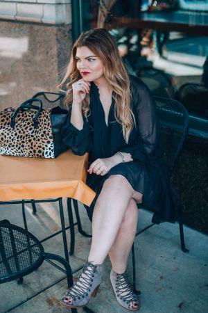 The Glitter Gospel little black dress outfit. Asheville NC, Clare Vivier Leopard Sandrine, Asheville NC, Little Black Dress, date night style