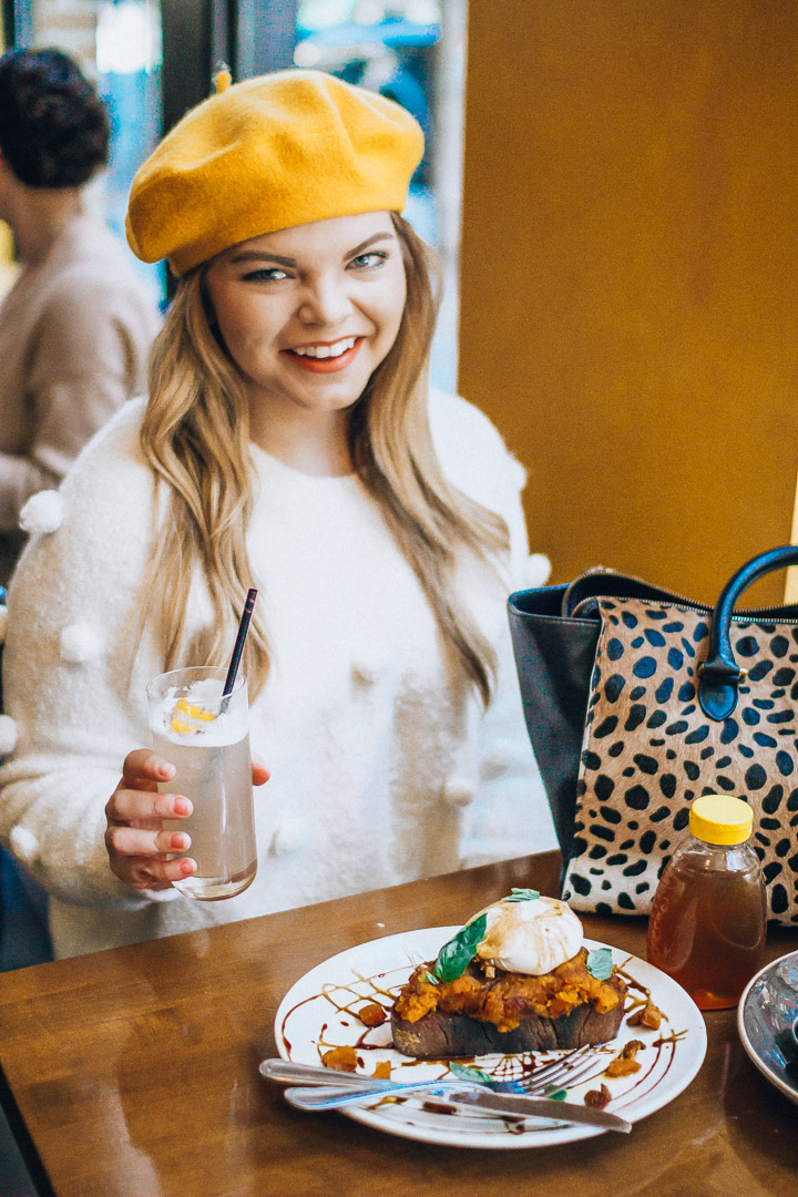 The Glitter Gospel shares tips and tricks for making the most of your weekdays! Tupelo Honey Knoxville, Brunch, Lavender Honeysuckle Cocktail, Clare Vivier Leopard Sandrine, Yellow Beret, Pom Pom Sweater