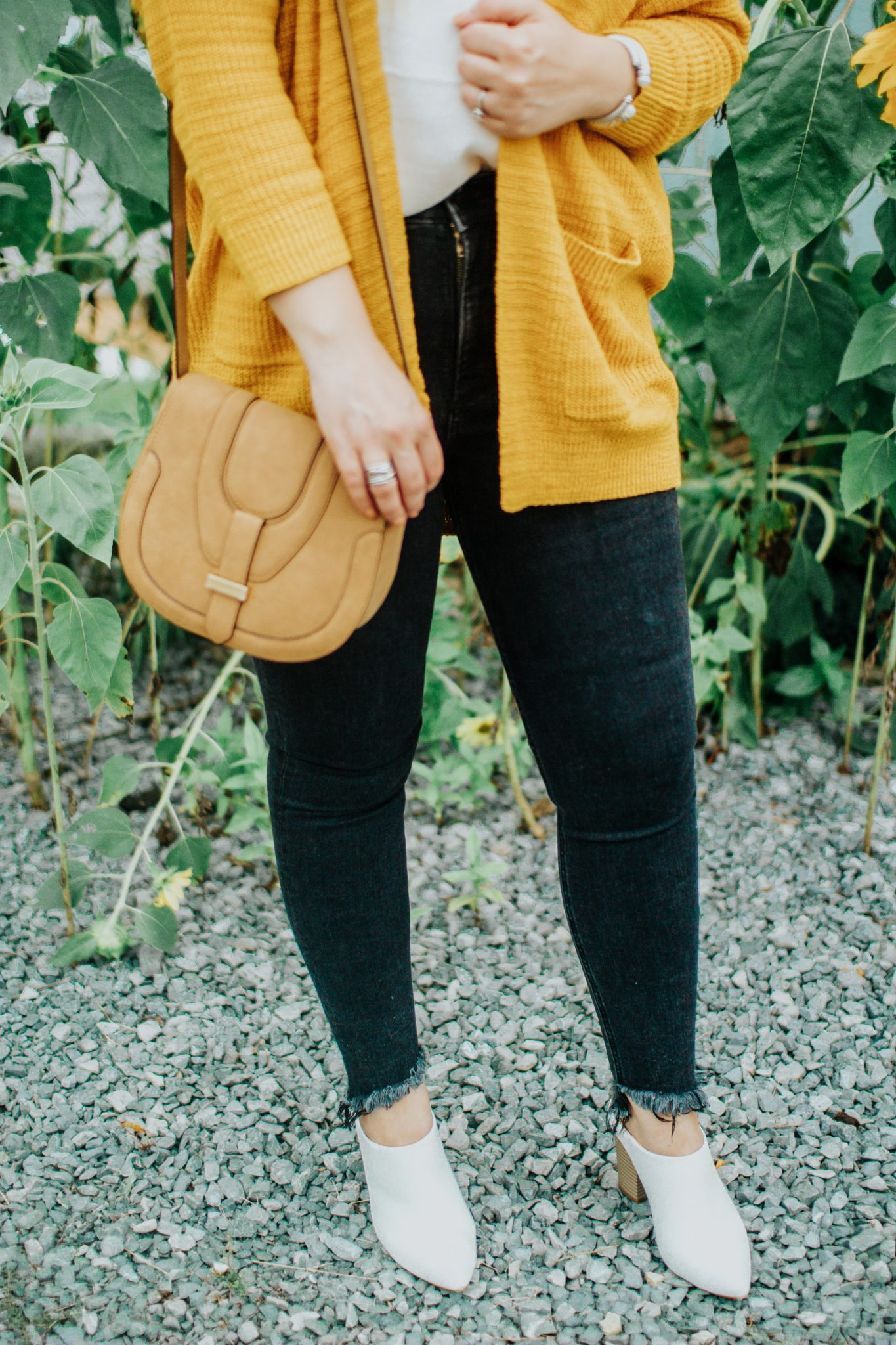 The Perfect Fit with Express Jeans, Fall Outfits, Sweater Weather, Dark Jeans, White booties, Yellow Sweater, Cream Cami, Saddle Bag, Tennessee Blogger