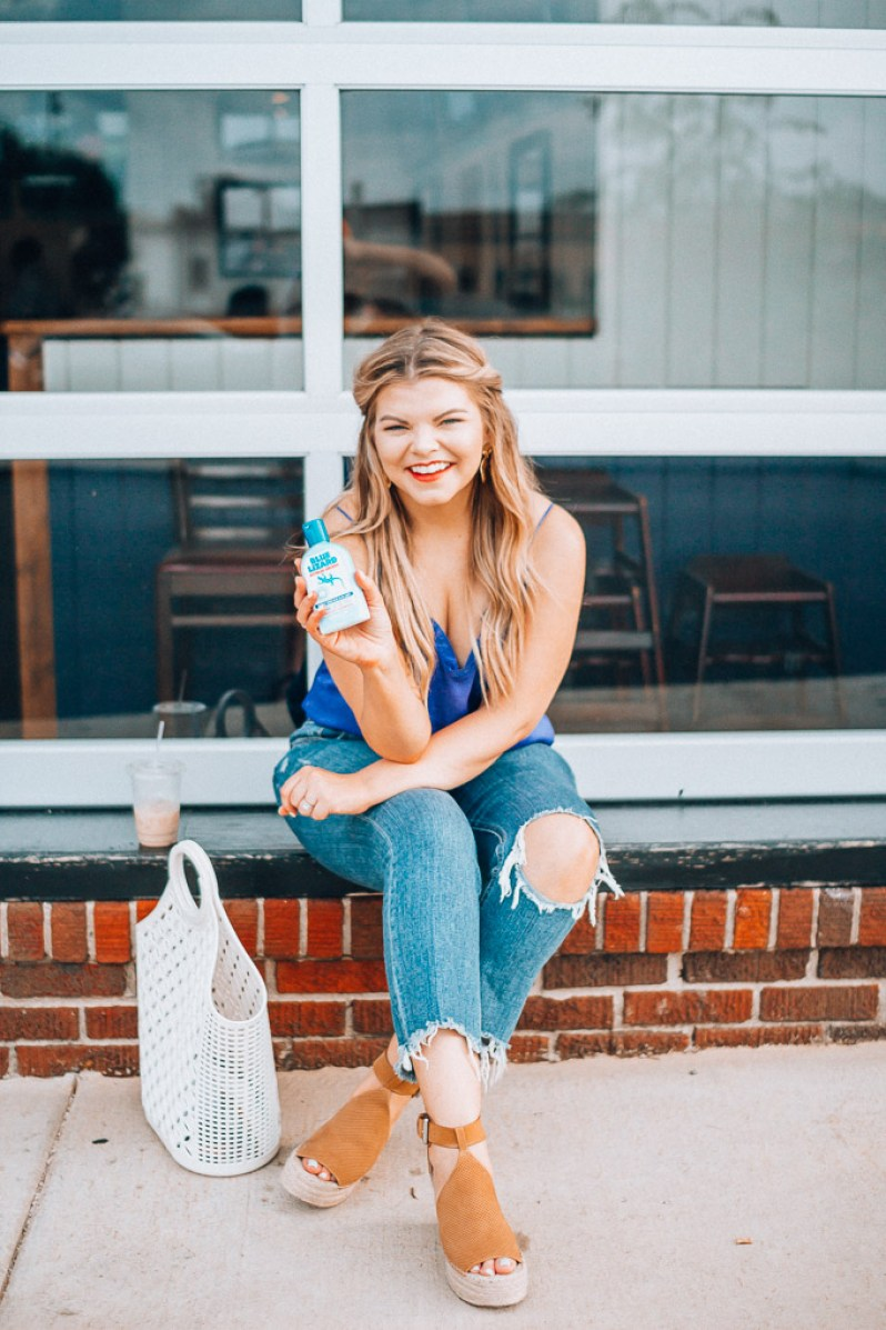 The Glitter Gospel shares her Summer skin care routine with Blue Lizard. Get ready with me, express tank top, Tennessee Blogger, Marc Fisher Espadrilles