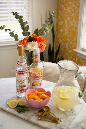 Popular Tennessee Life + Style blogger Lacey Anne Douthat of The Glitter Gospel shares an amazing Frosted Peach Lemonade recipe with Master of Mixes. Peach Lemonade, Cocktail Recipe, Polka Dot Skirt, Breakfast Nook Ideas, Hand Stenciled Wall, Wall Stencil. Yellow Home Decor, Yellow Aesthetic, Cocktail recipe ideas, chickfila frosted lemonade, lemon wedges, easy cocktail recipe ideas