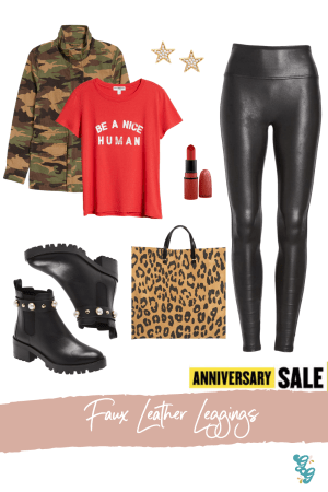 Everyday Athleisure NSALE | NSALE 2020 | The Glitter Gospel , Spanx Faux Leather Leggings, Suburban Riot T-shirt, Karl Lagerfield Combat Boots, Clare Vivier Tote, MAC RUBY WOO, Madwell Camo Utility Jacket, Gorjana Star Earrings