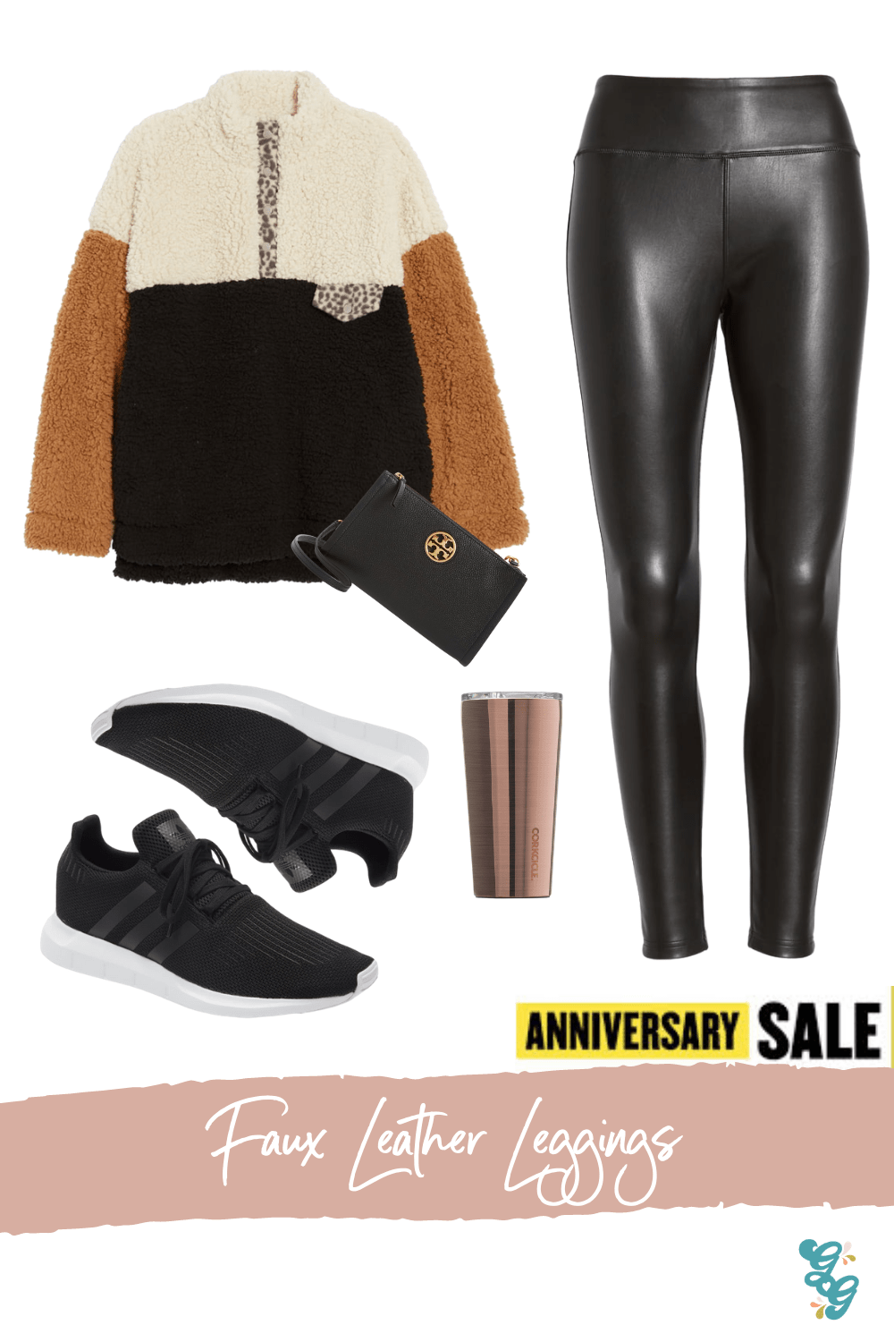 Everyday Athleisure NSALE | NSALE 2020 | The Glitter Gospel , Wubby Colorblock Fleece Pullover THREAD & SUPPLY, Nordstrom BP Faux Leather Leggings, Adidas Swift Run Sneakers, Tory Burch Carson Zip Top Crossbody Bag, Corksicle Tumbler