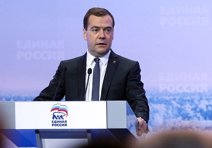 Prime Minister Dmitry Medvedev speaks at a meeting of United Russia deputies from Russian rural villages in Volgograd on April 5, 2014. (RIA Novosti / Ekaterina Shtukina)