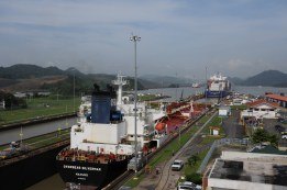 Ships passing through the Mira Flores locks - view from the Visitor Center