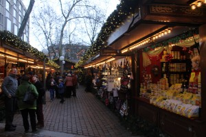 Christmas Market full of beer, teas and sausages.
