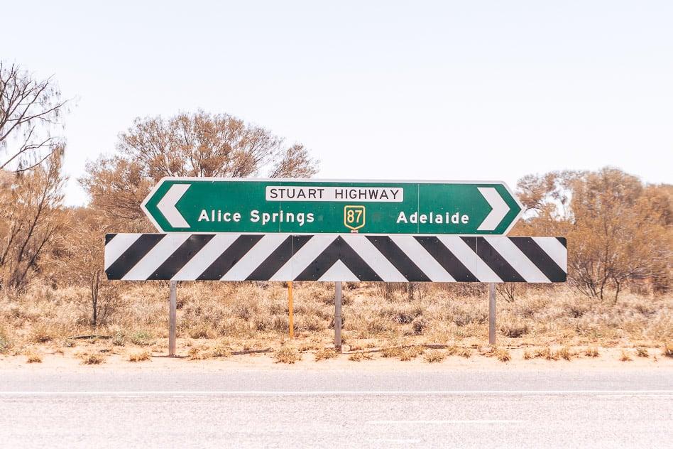 Stuart Highway Road Sign Outback Australia