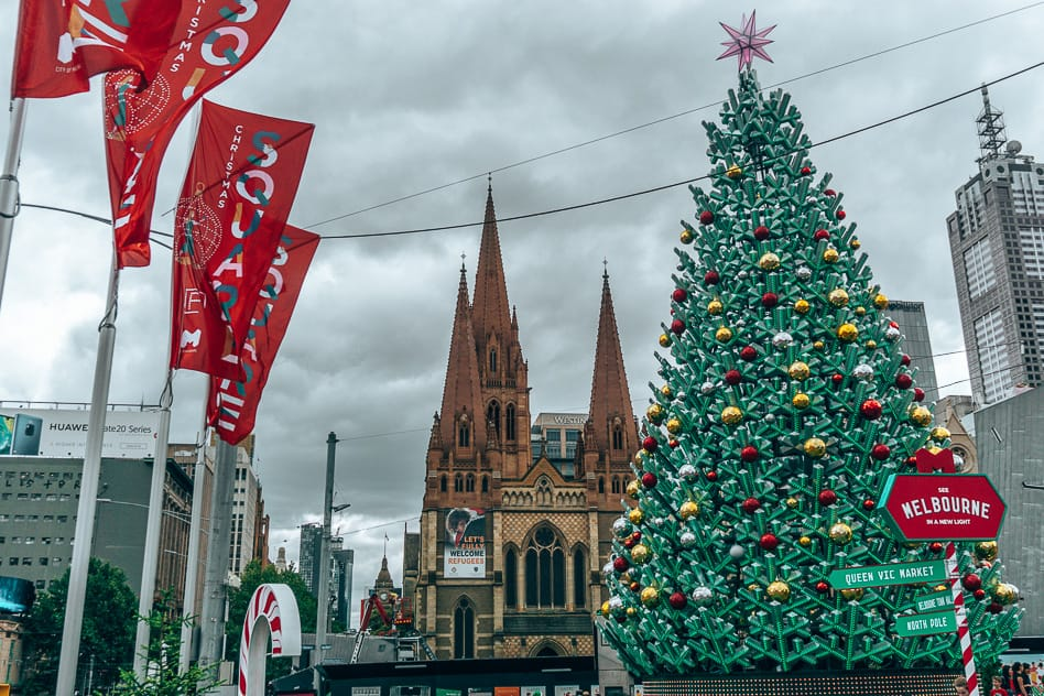 Melbourne City Square St Pauls Cathedral Christmas