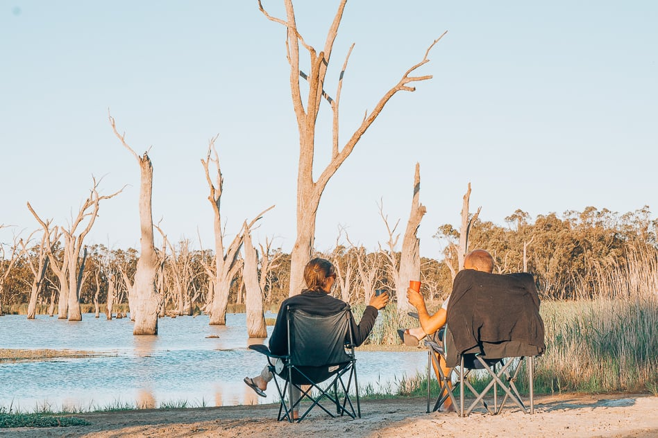 Sunset Camping Murray River Wine Relax