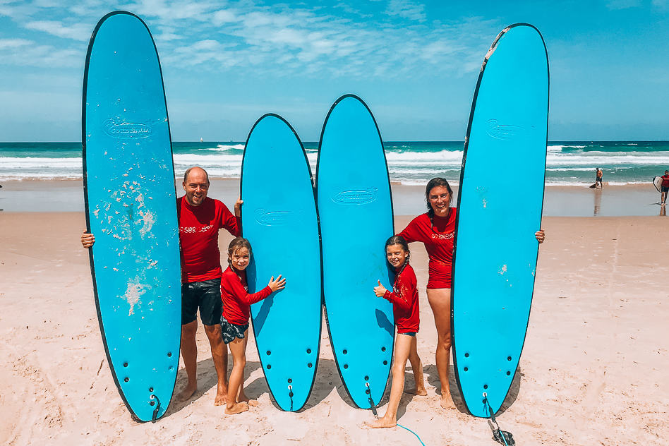 Bucket list experience family surfing lesson at Surfers Paradise Gold Coast Australia