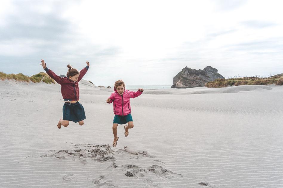 Wharariki Beach Kids Fun New Zealand