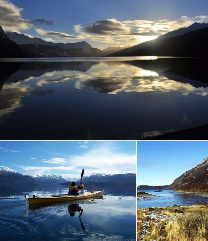 Canoe dans le parc de Terre de Feu Argentine a faire