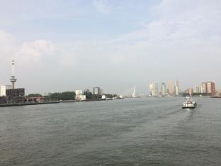 The skyline of Rotterdam and the Erasmusbrug (Erasmus Bridge), center. Photo: M. Trueblood