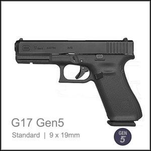 Glock 17 Gen 5 9 x 19mm semi auto pisto; black