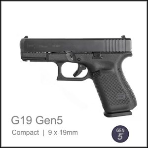 Glock 19 Gen 5 9 x 19mm semi auto pistol black